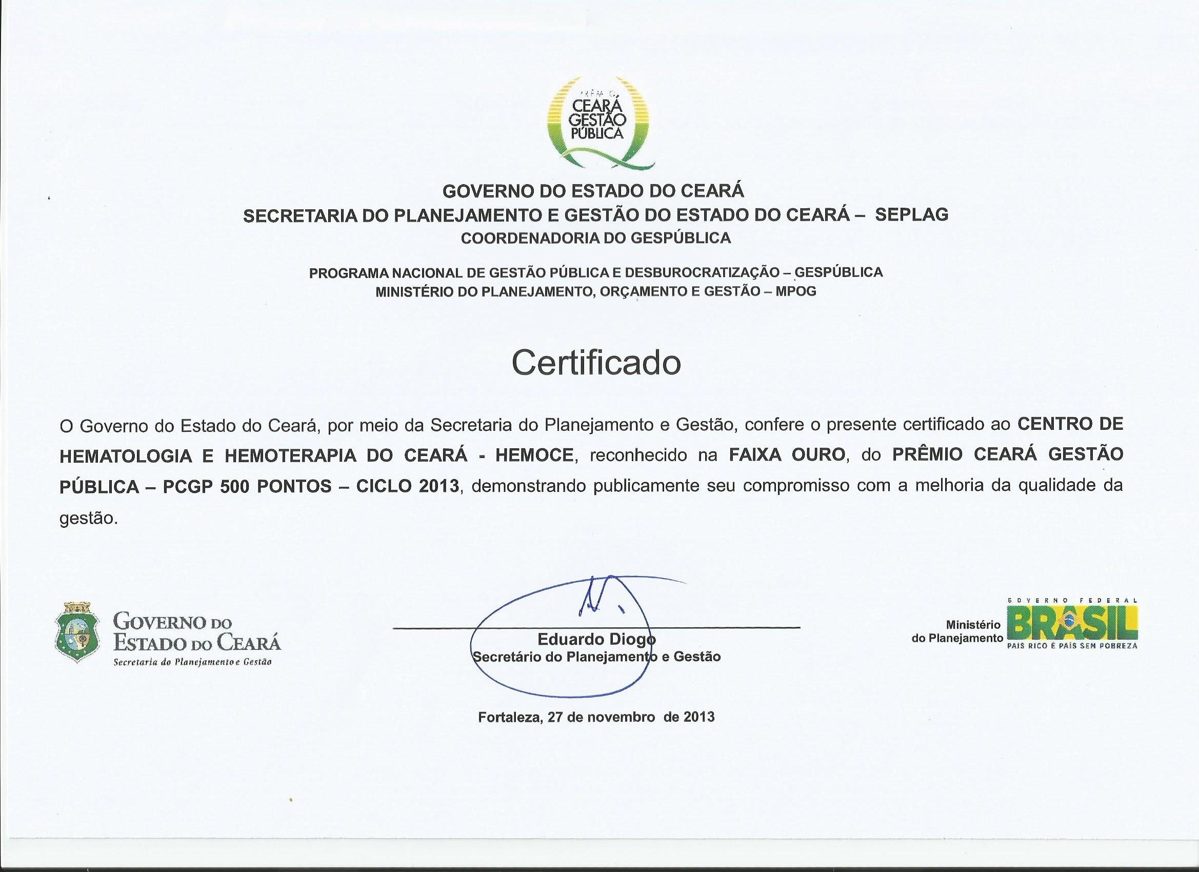 certificado faixa ouro