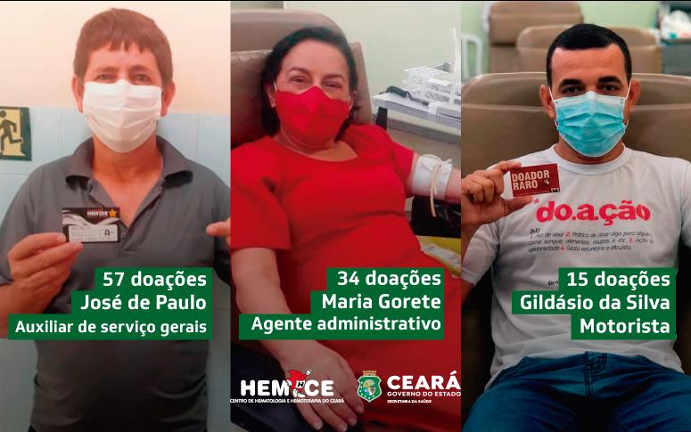 Colaboradoadores: funcionários do Hemoce que também doam sangue incentivam ato solidário